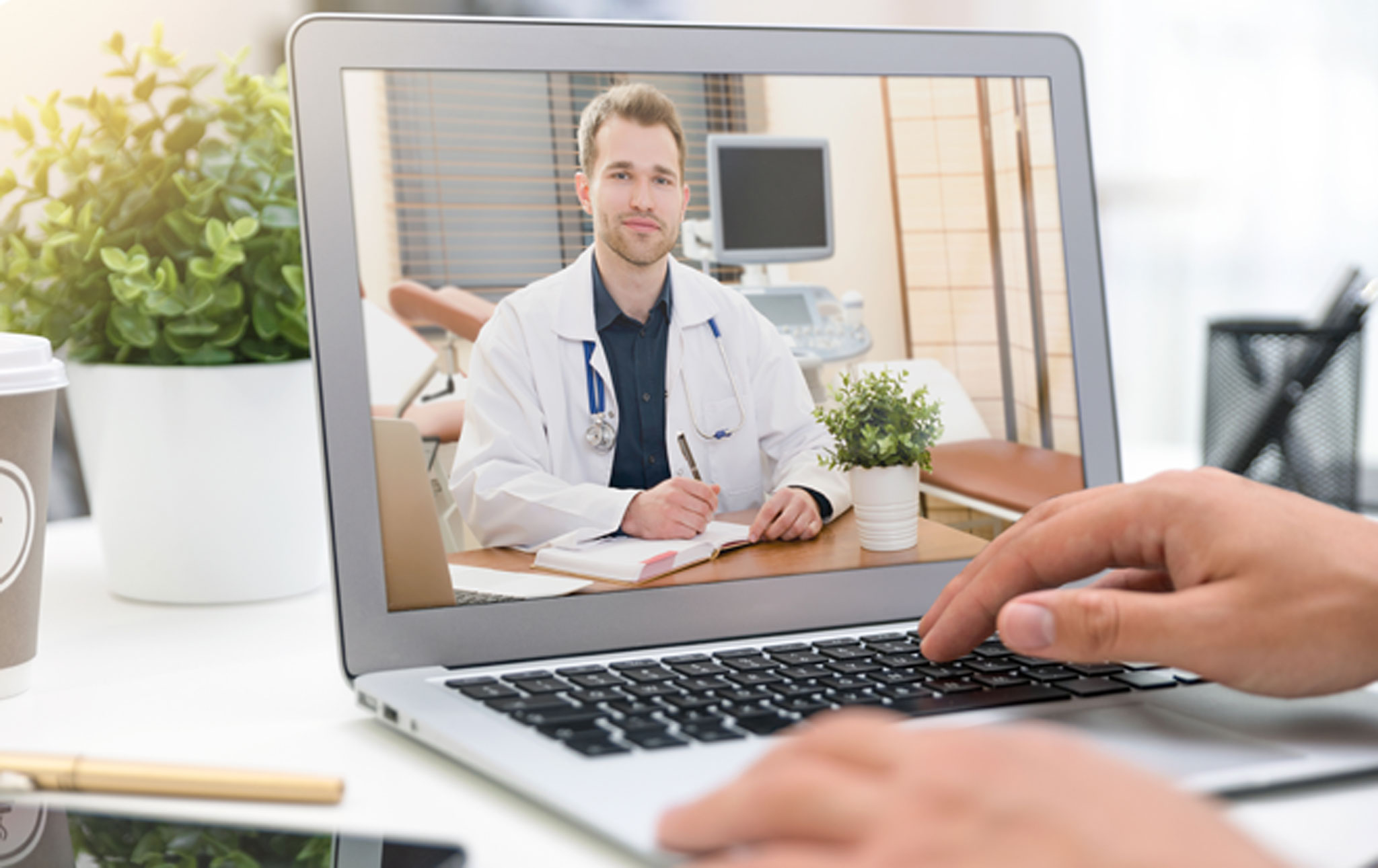 Doctor on computer screen